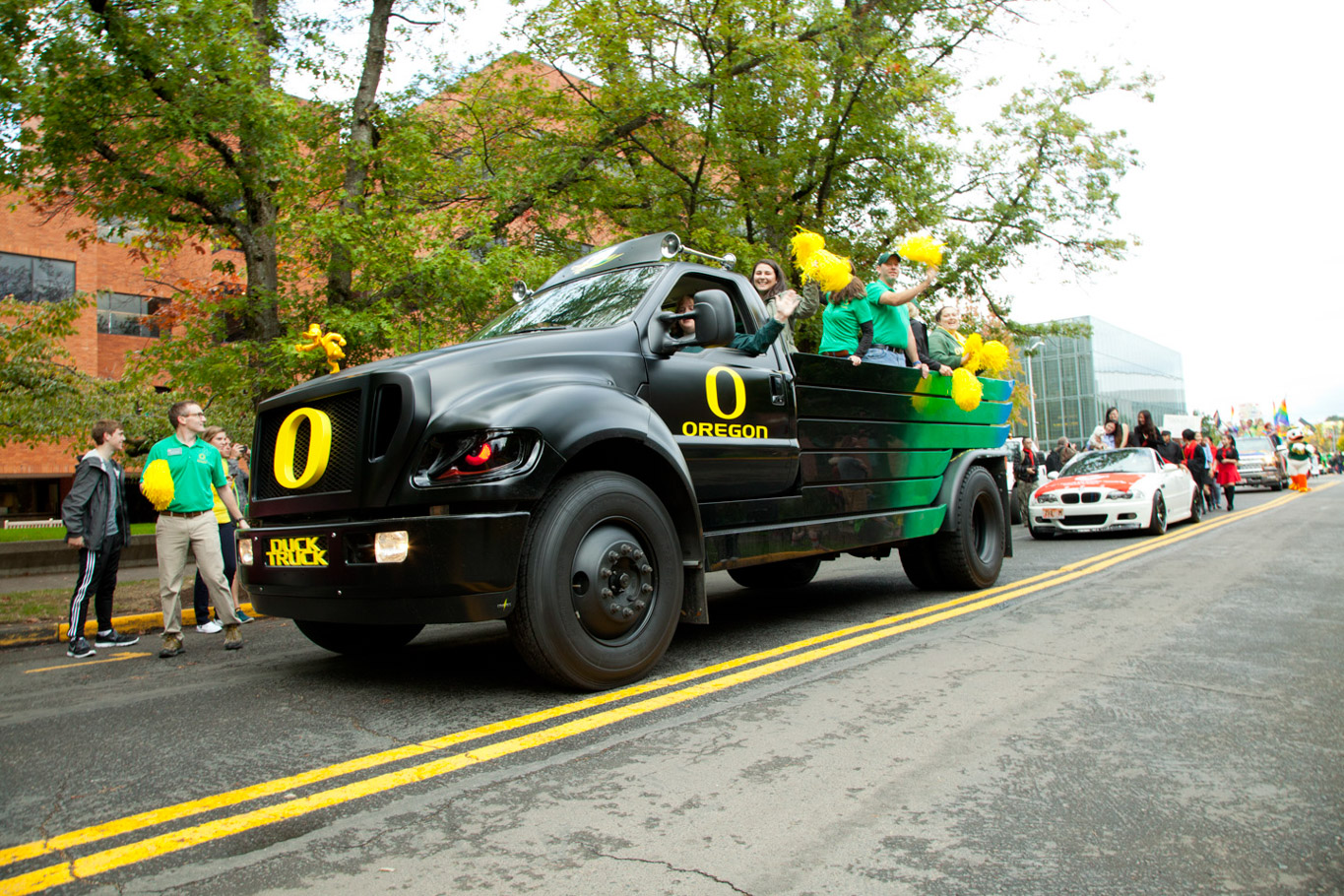 The duck truck moves during the homecoming parade